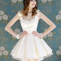 new lady grand Lovely Jacquard Floral Bow Tier Sleeveless White Party Dress