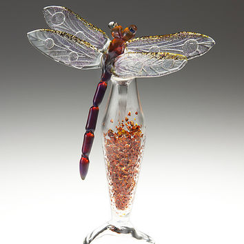 Amber Dragonfly Bottle by Loy Allen: Art Glass Perfume Bottle | Artful Home