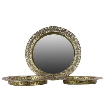 Metal Round Tray With Mirror Surface Set Of Three Pierced