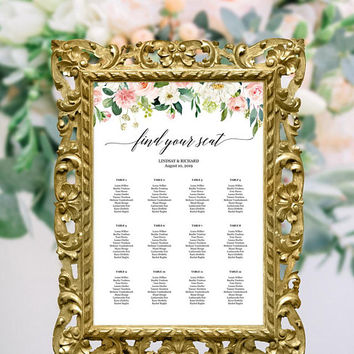 Floral wedding seating chart template, Wedding reception seating chart, Rehearsal dinner seating chart template pdf, 16x20 18x24 20x30 24x36
