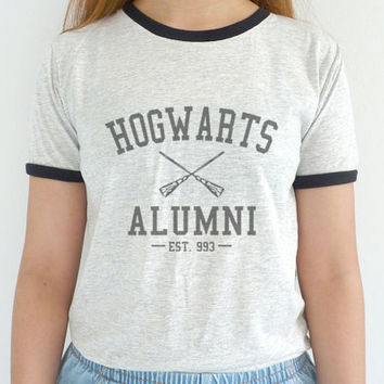 Hogwarts Alumni Shirt Ringer Tee Harry Potter Shirts School of Witchcraft and Wizardry