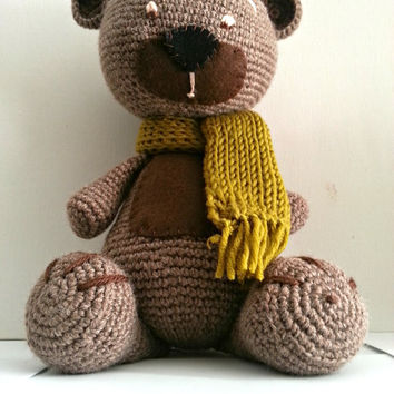 Amigurumi Teddy Bear , Crochet Bear, Wool Bear, Brown Teddy Bear, Classic Teddy Bear, Amigurumi Doll Bear Cub, Baby and Kids