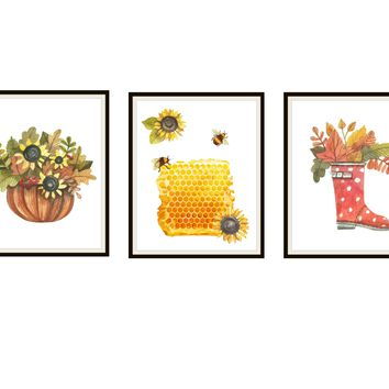 Set of 3 Sweet Honey Watercolor Art Prints, Bees Honey and Flowers Wall Art, Posters, 8 x 10 , Unframed