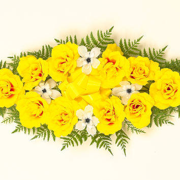 Headstone Spray with Yellow Silk Roses - 26 Inch