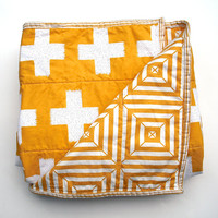 Modern Baby Quilt in sunshine yellow and White Plus Signs for Boy or Girl – Reversible