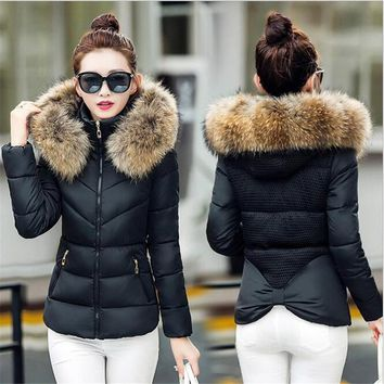Fake fur collar Parka down cotton jacket 2017 Winter Jacket Women thick Snow Wear Coat Lady Clothing Female Jackets Parkas