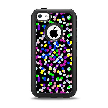 The Multicolored Polka with Black Background Apple iPhone 5c Otterbox Defender Case Skin Set