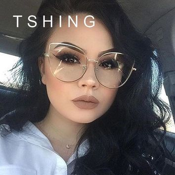 TSHING Fashion Cat Eye Optical Eye Glasses Women Men Clear Lens Big Metal Glasses Frame Retro Female Male Goggle Eyeglasses
