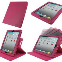 rooCASE Dual-View Multi Angle (Magenta) Leather Case for 4th Generation iPad with Retina Display / the new iPad 3rd / Apple iPad 2 (Automatically Wakes and Puts the iPad to Sleep): Computers & Accessories