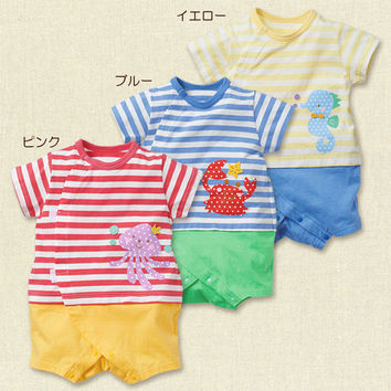 Short Sleeve Lovely Animal Baby Costume Cotton Summer One-piece [4919775172]