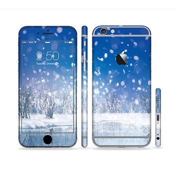The Frozen Snowfall Pond Sectioned Skin Series for the Apple iPhone 6