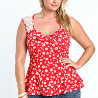 PLUS SIZE FLORAL LACE BOW TOP