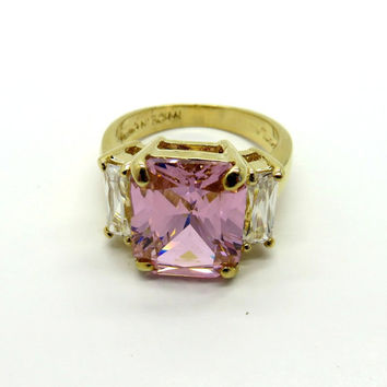 Pink CZ Cocktail Ring, Vintage Lind Ring, 14k Gold Plated Ring, CZ Engagement Ring, Emerald Cut Pink Stone Ring, Size 6, Free Shipping