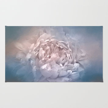 Blushing Blue and Cream Peony - Floral Area & Throw Rug by Jai Johnson