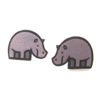 Small Rhino Rhinoceros Animal Illustration Stud Earrings | Handmade Shrink Plastic