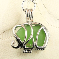 Elephant Locket With Real Green Sea Glass On Sale