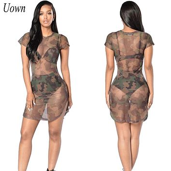 Uown 2017 Fashion Women Brand Sexy Short Mini Party Club Dress Clothing Ladies Mesh See Through Dress for Girl Summer