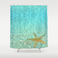 "Shower Curtain - 'Sea Treasures' - 71"" by 74"" Home, Decor, Bathroom, Bath, Dorm, Girl, Christmas, Gift, Ocean, Turquoise, Starfish"