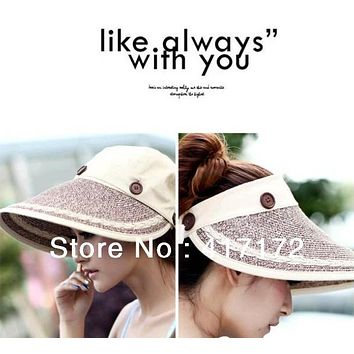 Free Shipping Summer lady Korean ultraviolet sunshade cap disassembling dual-purpose empty top hat sun hat straw hat  Adjustable
