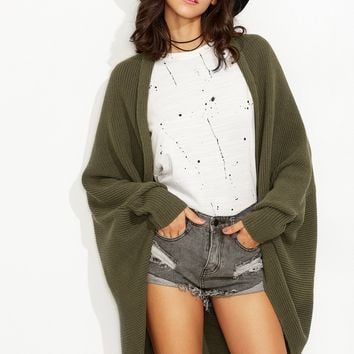 Olive Green Shawl Collar Open Front Cocoon Cardigan