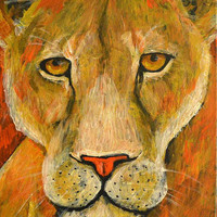 The Lioness and Her Regal Gaze - Original Acrylic Painting - Folk Art - Animal Art