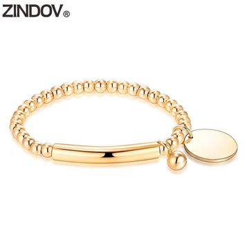 ZINDOV Gold Stainless Steel Bead Bracelet Stretch Charms Brand Rose Gold Strand Female Handmade Jewelry Gift Bracelets For Women