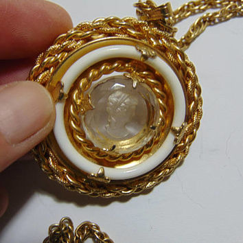 Gold tone Cameo with dual Rope Circle 12 inch chain Necklace