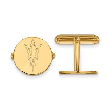 NCAA 14k Gold Plated Silver Arizona State University Cuff Links