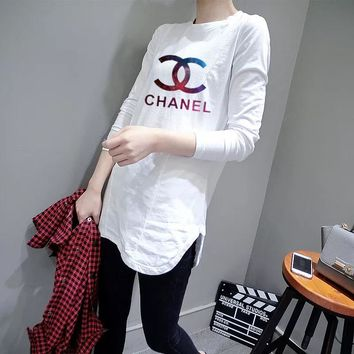 """Chanel"" Women Casual Simple Galaxy Logo Letter Print Long Sleeve Irregular T-shirt Tops"