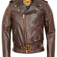 Hand Oiled Lightweight Naked Brown Perfecto Motorcycle Jacket with Plaid Cotton Lining 619