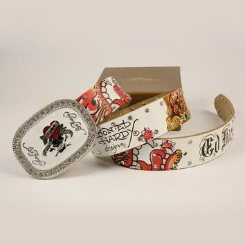 LMOFN1 Perfect ED HARDY Woman Fashion Smooth Buckle Belt Leather Belt