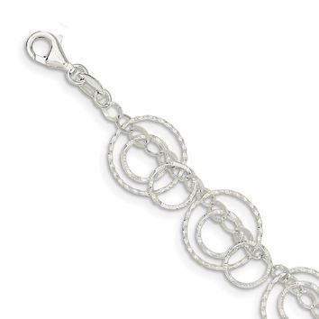 Sterling Silver 16mm Textured Circles Link Bracelet