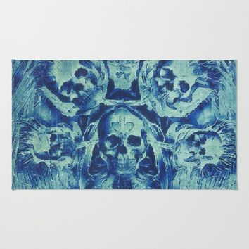 Blue Skulls (Abstract Surreal Blue Halloween Ghost Hour) Rug by Jeanette Rietz