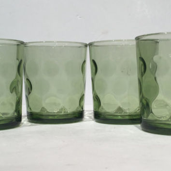 Hazel Atlas Eldorado Green Glass Dot Tumblers Set of 4, 8 oz Flat Tumblers