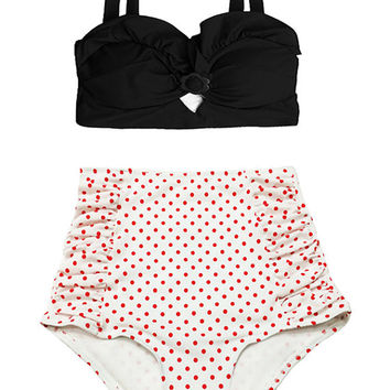 Black Top and Polka Dot Ruched Ruche Vintage Retro High Waisted Waist Shorts Bottom Swimsuit Swimwear Swimsuits Swim Bathing suit suits M L