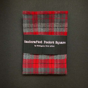 Plaid pocket square – red and gray tartan mens handkerchief – modern rustic grooms wedding hankie – rolled hem mitered corners