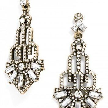 LAUDER PAVÉ DROP EARRINGS - CRYSTAL