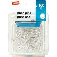 Staples® Push Pins, Clear, 100/Pack