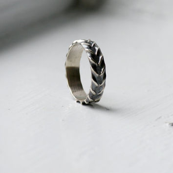 Handmade Sterling Silver Fancy Band, Rustic Sterling Silver Ring, His and Hers, Friendship Band