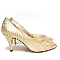 Vintage Gold Metallic Swirl Satin Sweetheart Heels From SophistiFunkVintage