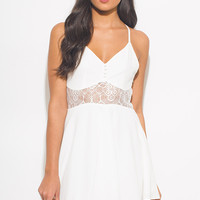 White Dress With Button & Lace Detail