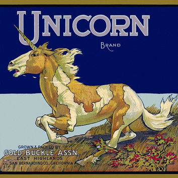 Unicorn in a full Gallop label poster