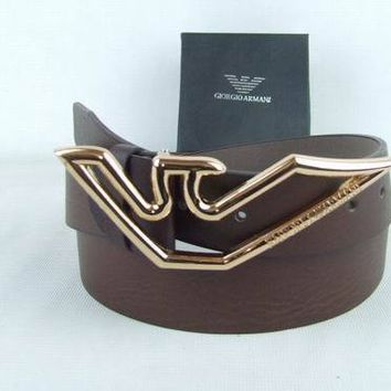 ARMANI Fashion Smooth Buckle Belt Leather Belt