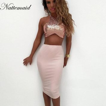 NATTEMAID 2017 Fashion brand new style women dress Pink sequins Bow bodycon dresses Sexy ladies halter neck vestidos
