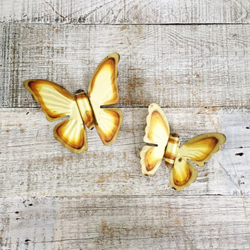 Vintage Brass Butterfly Wall Hanging 2 Brass Butterflies Wall Art Set of 3D Butterflies Golden Metal Butterfly Vintage Wall Art Boho Decor