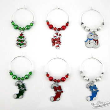 Christmas wine charms tags drink markers gift under 25 table ornaments wine glass charms wine glass marker gift Holiday wine charms winter