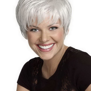Heat Resistant Synthetic Straight Silver /White Short Wig