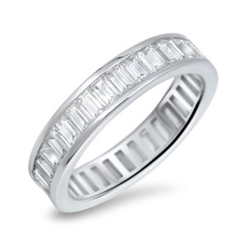 A Perfect 12TCW Emerald Cut Russian Lab Diamond Wedding Band Eternity Ring