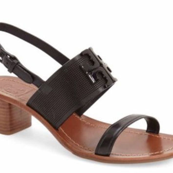 Tory Burch Lowell Black High Heel Sandal