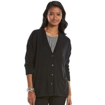 Chaps Solid Cardigan   Petite Size: